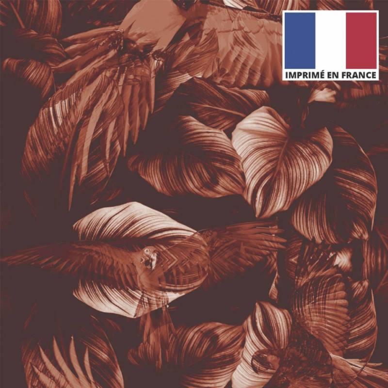 Velours ras imprimé jungle et perroquet monochrome orange