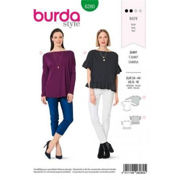 Patron Burda 6280 : T-shirt Taille 34-44
