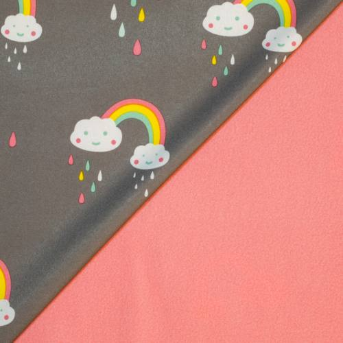 Tissu softshell taupe motif nuage et arc-en-ciel