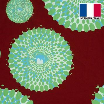 Tissu microfibre marron motif wax cercles verts tp9