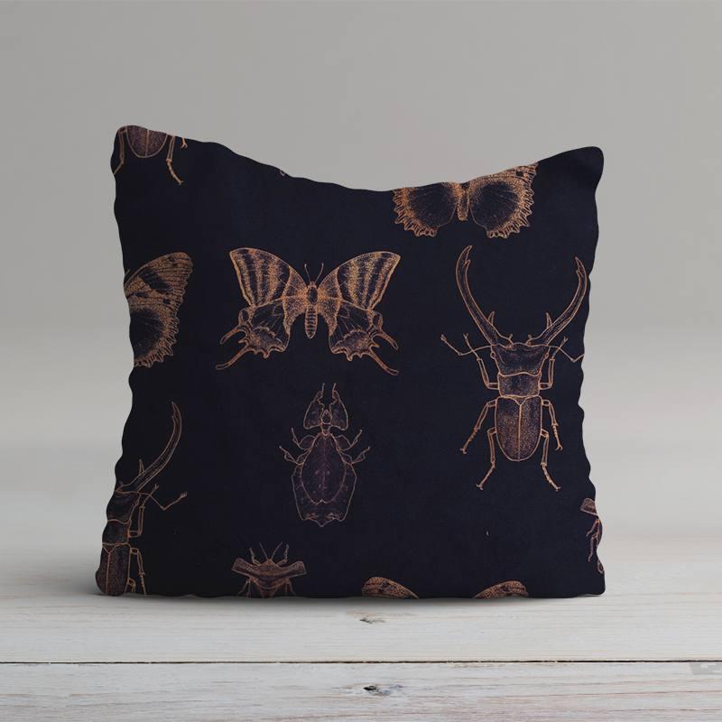 Velours ras bleu aubergine imprimé insectes rose gold