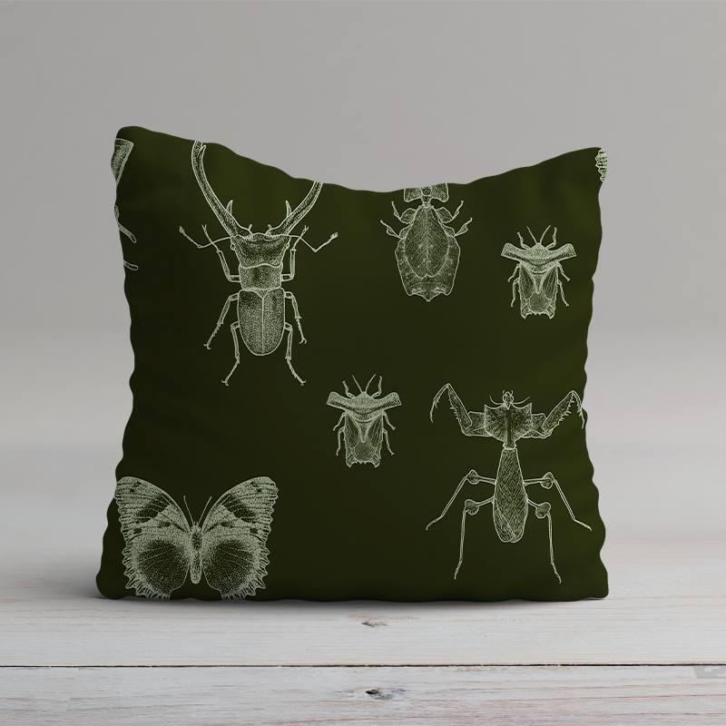 Velours ras vert forêt imprimé insectes vert menthe