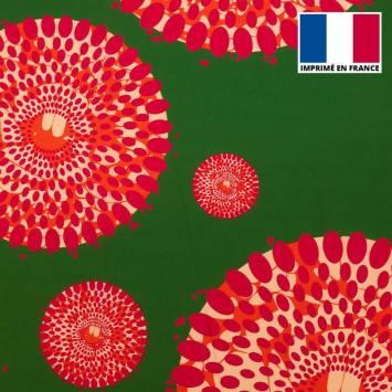 Tissu microfibre vert prairie motif wax cercles roses tp7