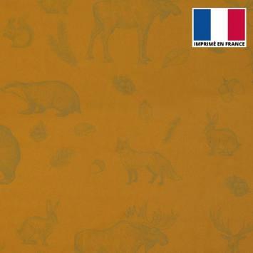 Mousseline crêpe curry imprimée faune et flore automnale grise