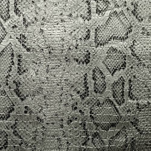 Simili cuir croco motif snake argent