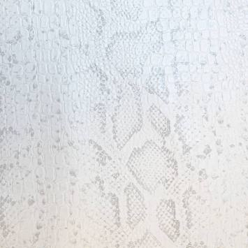 Simili cuir croco motif snake blanc