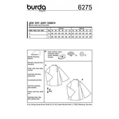Patron Burda 6275 : Veste Taille 34-44