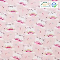 Coton rose imprimé chat licorne ocre et gris milk