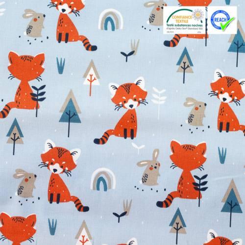 Coton bleu ciel imprimé renard et lapin padwan