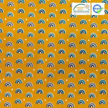 Coton ocre imprimé demi-cercle bleu et gris arcol