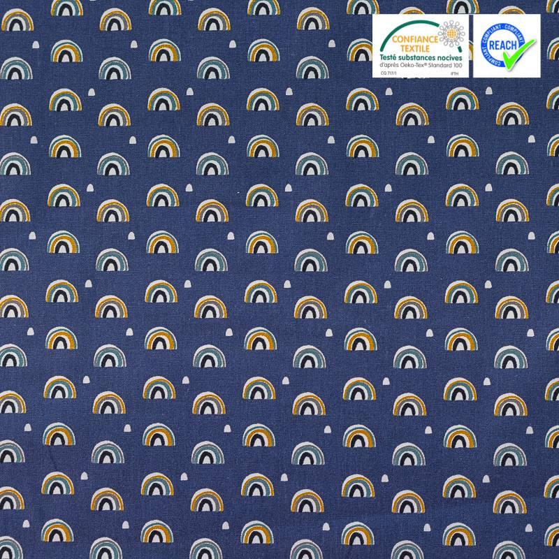 Coton bleu foncé imprimé demi-cercle ocre et bleu arcol