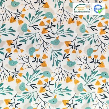 Coton blanc imprimé plante et oiseau ocre et bleu canard hygge