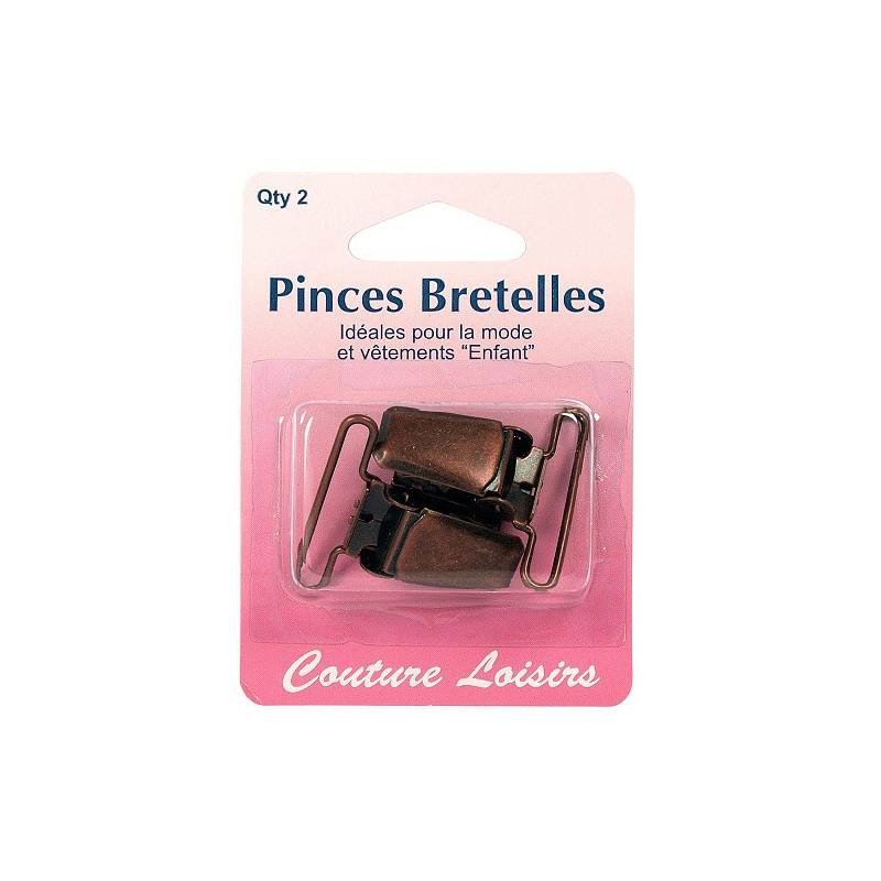 Pinces pour bretelles couleur bronze X2