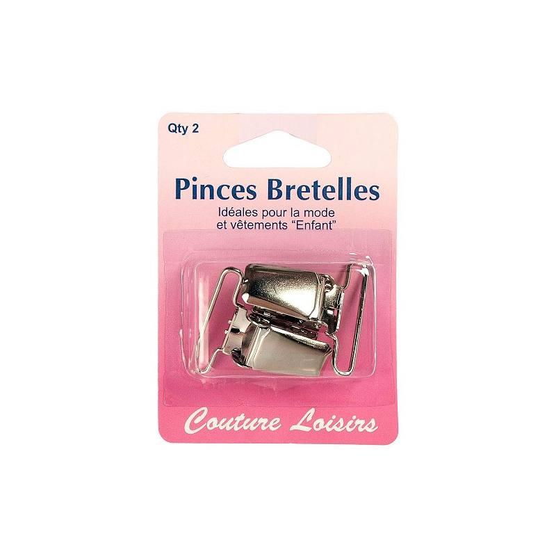 Pinces pour bretelles couleur nickelé X2