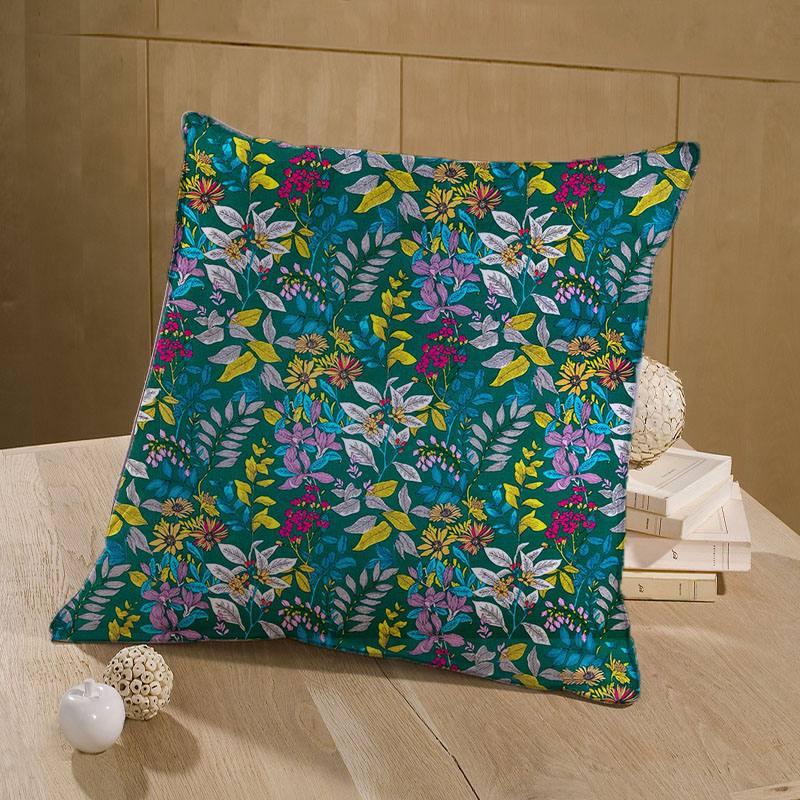 Coton vert imprimé floral