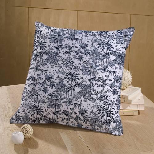 Coton blanc motif savane noir