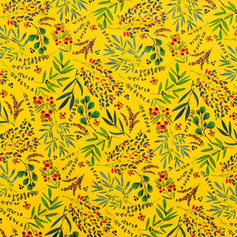 Coton jaune imprimé floral