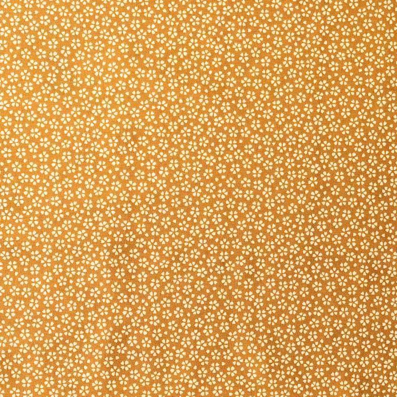 Coton curry motif petite fleur écrue