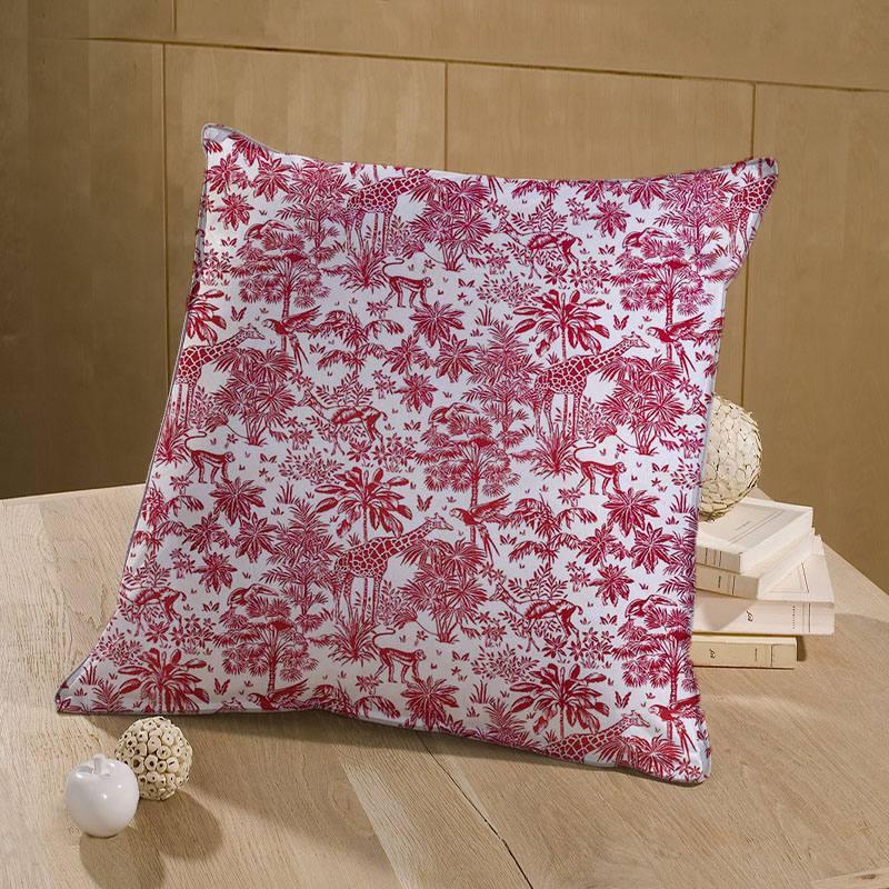 Coton blanc motif savane rouge