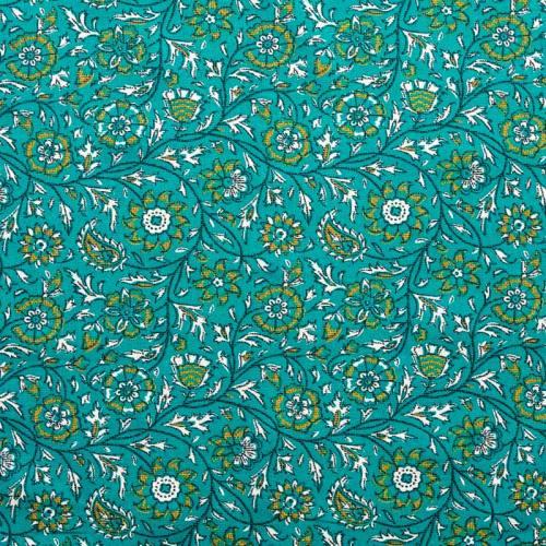 Coton bleu canard imprimé floral ocre