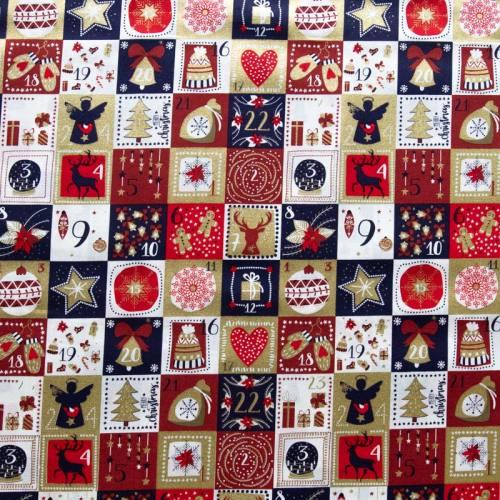 Coton de Noël imprimé calendrier de l'avant rouge doré bleu marine
