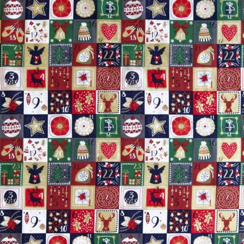 Coton de Noël calendrier de l'avant imprimé doré gris bleu marine