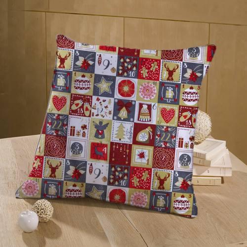 Coton Noël imprimé calendrier de l'avant gris doré et rouge