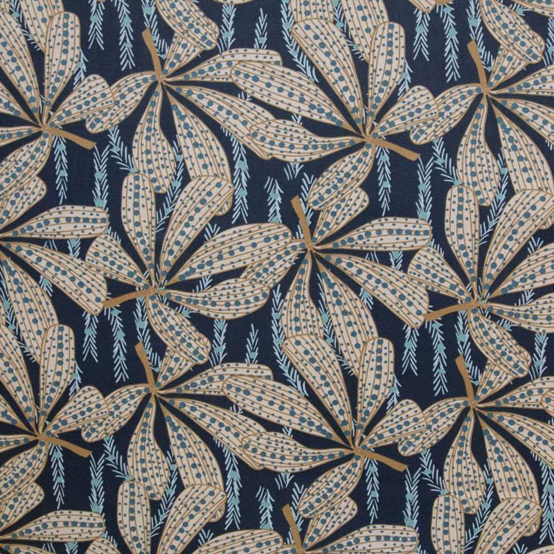 Toile coton bleu marine motif sazzy