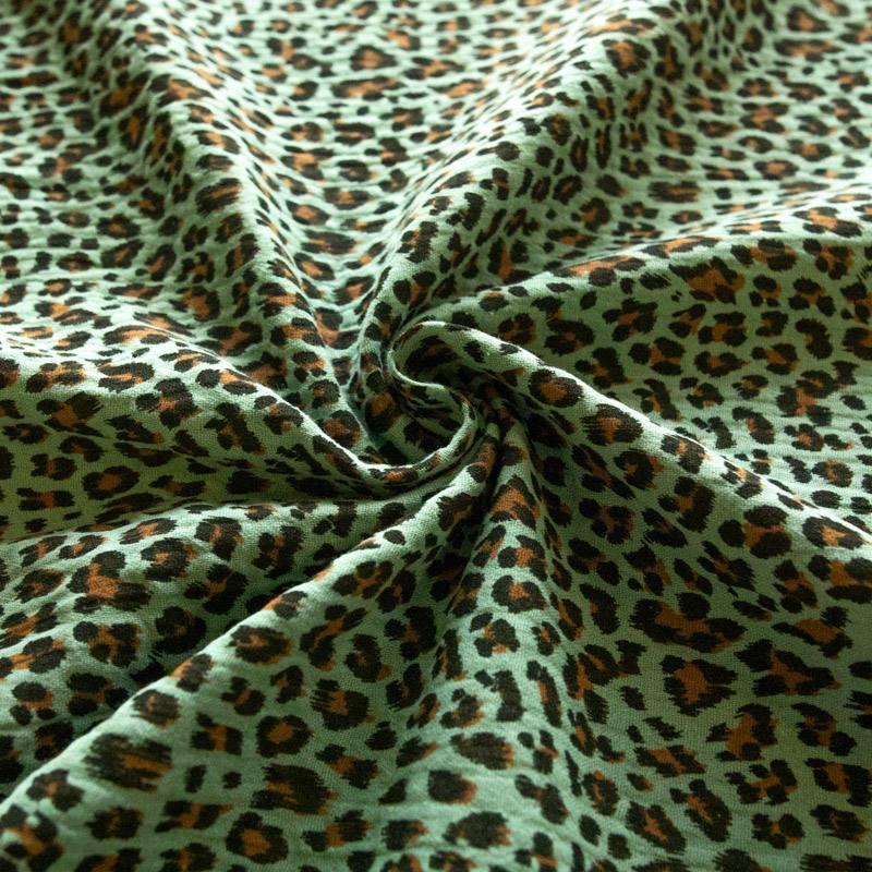 Double gaze vert sarcelle imprimé léopard