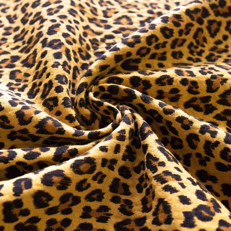 Double gaze jaune imprimé léopard