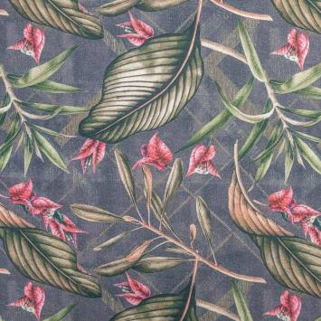 Toile coton grise motif bougainvillier