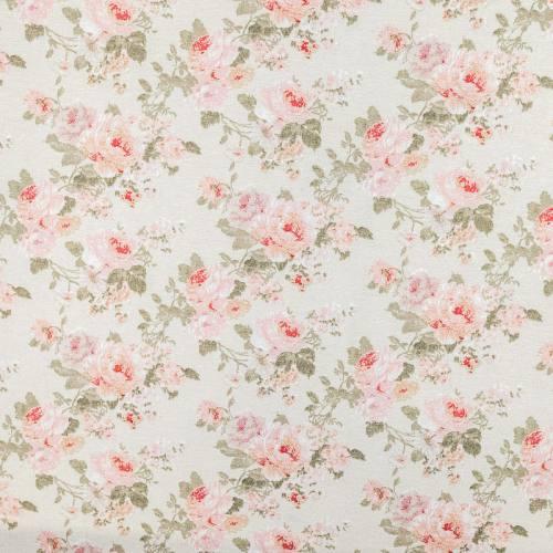 Toile polycoton écrue imprimée fleur rose