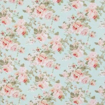 Toile polycoton bleue imprimée fleur rose