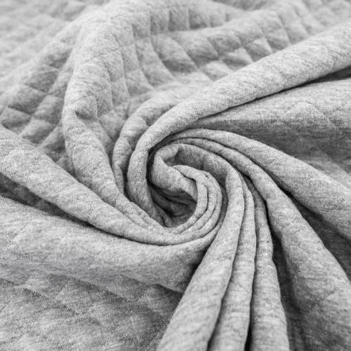 Jersey de coton matelassé gris acier