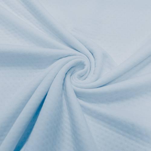 Jersey molleton ajouré bleu ciel