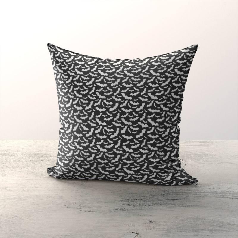 Coton noir imprimé chauve-souris blanche