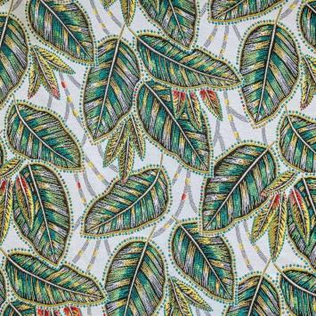 Tissu jacquard blanc motif eldorado vert