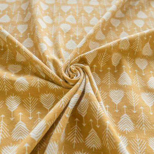 Jersey ocre jaune imprimé flèche blanche