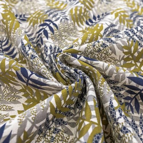 Toile coton grège aspect lin motif feuilles grises bleues et ocre