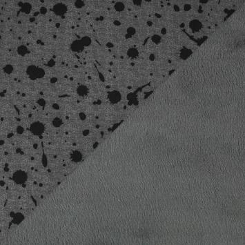 Tissu molleton gris foncé motif lizzy envers polaire