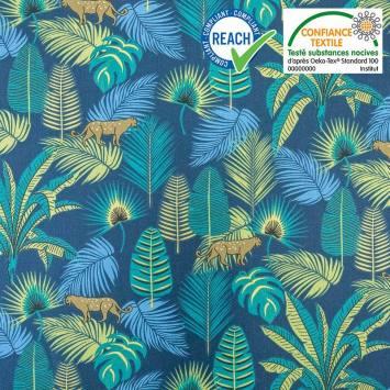 Coton bleu marine motif jungle vert