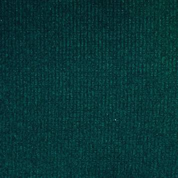 Tissu jersey maille côtelée vert pailletée