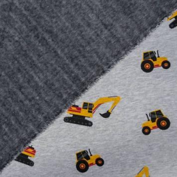 Tissu molleton gris motifs tracteurs envers polaire