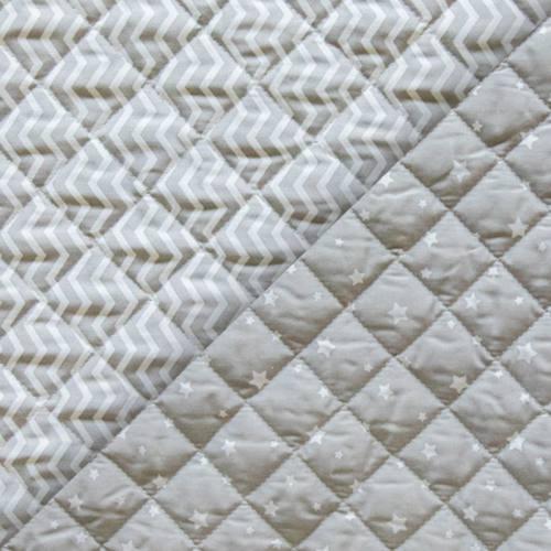 Tissu matelassé enfant gris réversible motif étoile et chevron