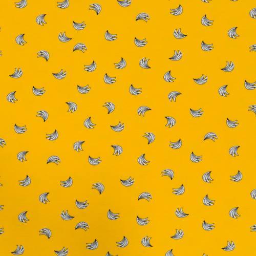 Jersey jaune motif banane écrue