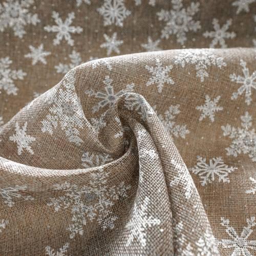 Toile aspect jute motif flocon de neige blanc et argenté