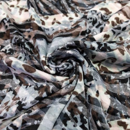 Jersey léger écru imprimé gris et marron