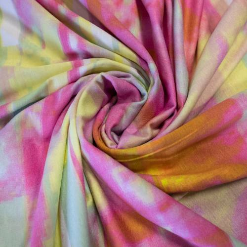 Jersey viscose écru motif span jaune rose vert