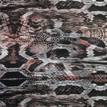 Jersey viscose gris motif peau de serpent taupe