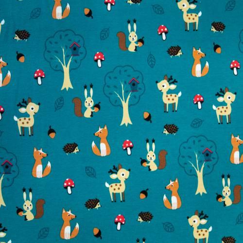 Jersey bleu canard motif animaux beige
